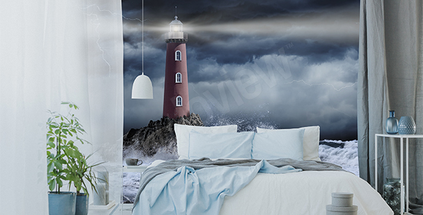 Fototapete Seesturm bei Nacht
