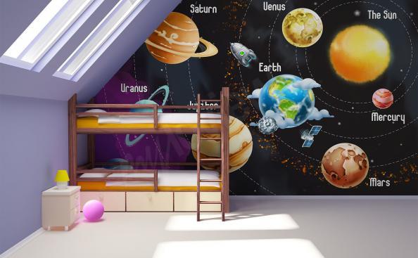 Fototapete Sonnensystem für Kinder