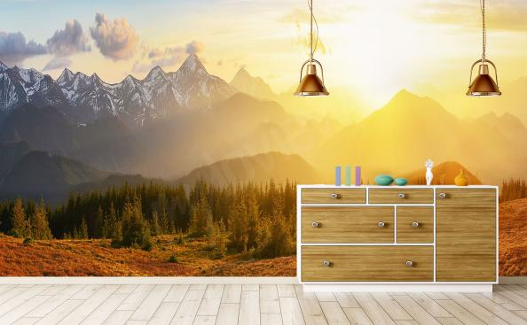 fototapeten sonnenuntergang gr e der wand. Black Bedroom Furniture Sets. Home Design Ideas