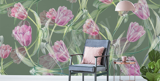 Fototapete Tulpen fürs Wohnzimmer