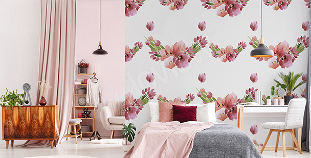 Fototapete Tulpen und Päonien