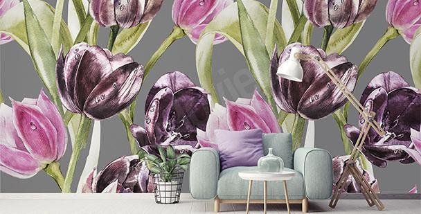 Fototapete Tulpen und Tau