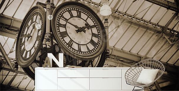 Fototapete Uhr am Bahnhof