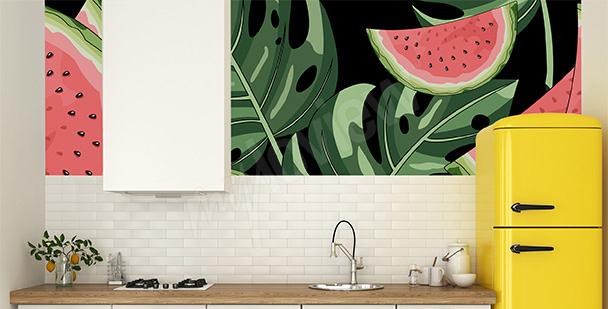 Fototapete Wassermelonen und Blätter
