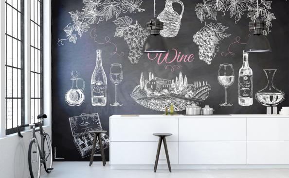 Fototapete Wein und Aufschriften