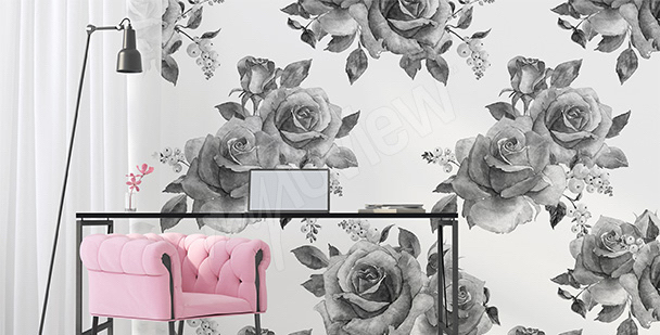 Fototapete weiß-schwarze Rosen
