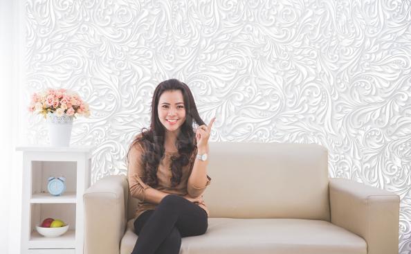 Fototapete weiße Ornamente für Wohnzimmer