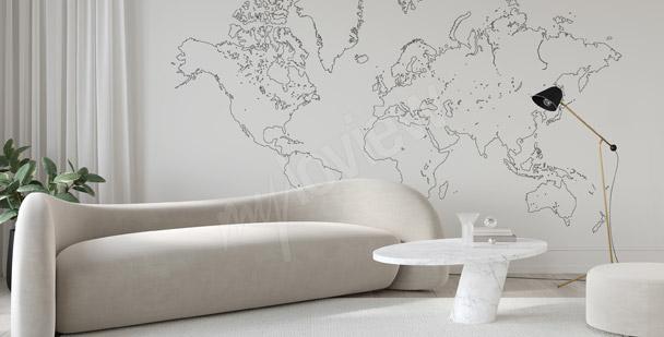 Fototapete Weltkarte minimalistisch