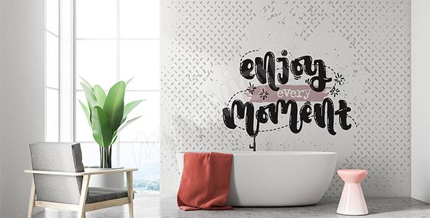 Fototapete Zitat fürs Badezimmer