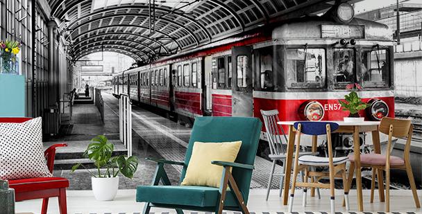 Fototapete Zug am Bahnhof
