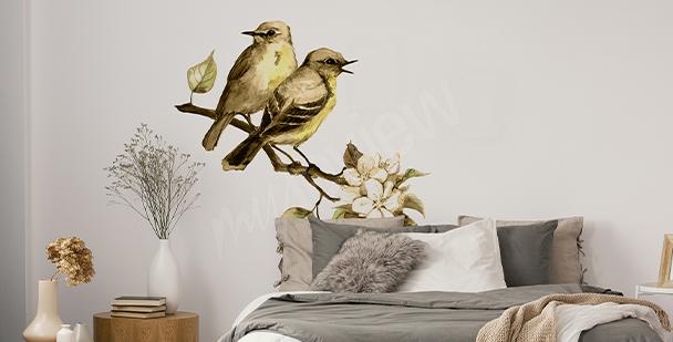 Frühlingssticker mit Vögeln