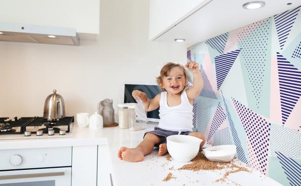 Geometrische Fototapete für die Küche