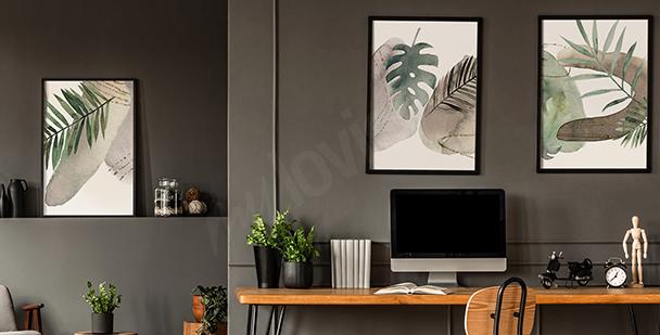 Geometrisches Poster mit Blättern