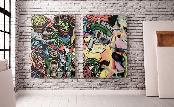 Graffiti Diptychon für Wohnzimmer