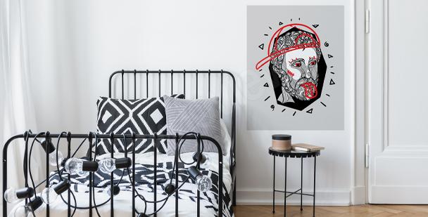 Grafischer Sticker mit Porträt