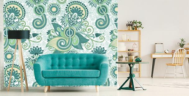 Grüne Fototapete fürs Wohnzimmer