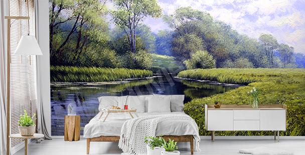 Grüne Fototapete mit Landschaft