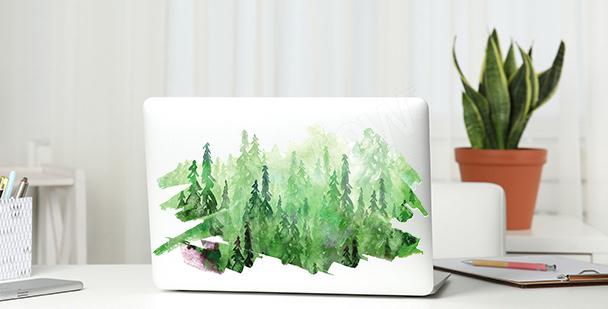 Grüner Sticker mit Aquarell