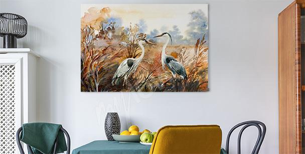 Herbstbild mit Vögeln