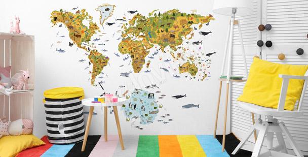 Kinder-Fototapete mit Weltkarte