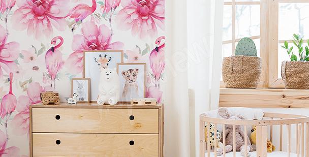 Mädchenhafte Fototapete mit Flamingos