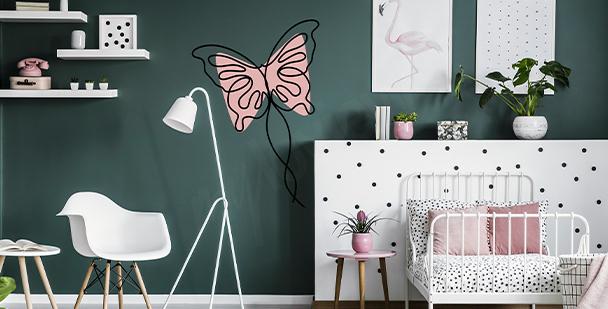 Mädchensticker mit Schmetterling