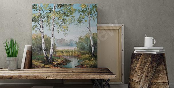 Malerbild mit Birken