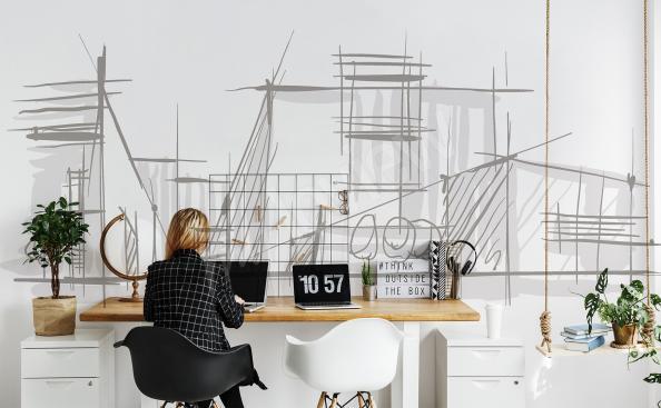 Minimalistische Fototapete mit Architektur