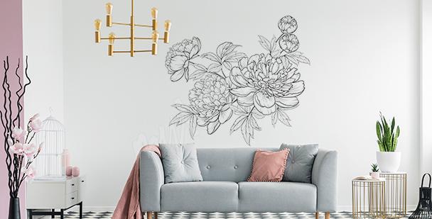 Minimalistischer Sticker mit Blumen