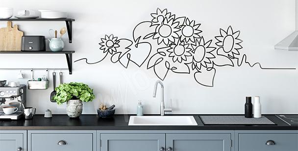 Minimalistischer Sticker Sonnenblumen