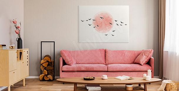 Minimalistisches Bild mit Vögeln