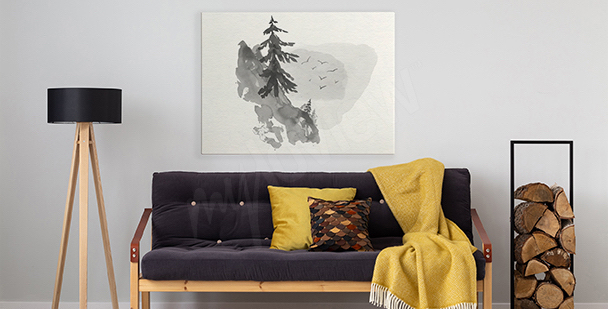 Minimalistisches Bild mit Wald