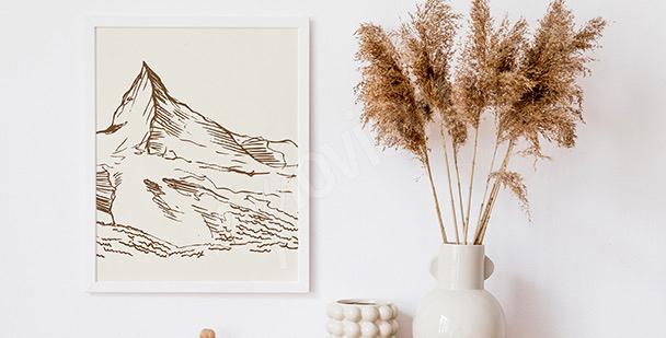 Minimalistisches Poster Berge