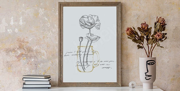 Minimalistisches Poster mit Mohnblumen