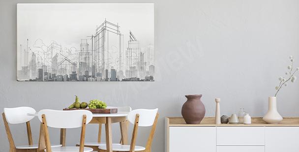 Mit Bleistift gezeichnetes Bild Stadt