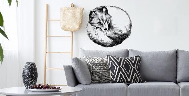 Monochromatischer Sticker Fuchs