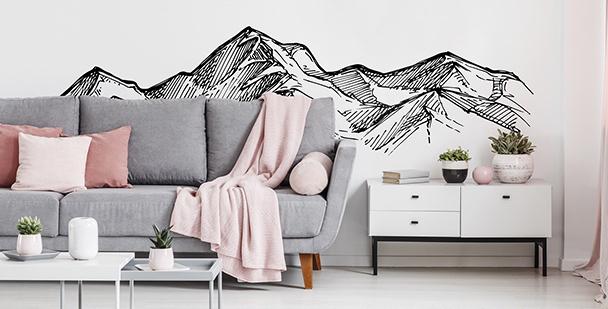 Monochromatischer Sticker mit Bergen