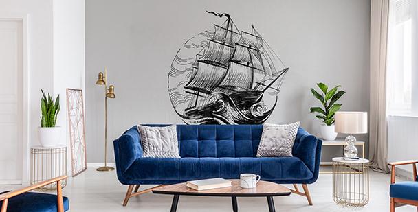 Monochromer Sticker mit Schiff
