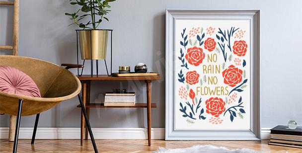 Motivationsposter und Blumen