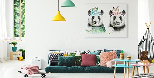 Panda-Bild im Boho-Stil