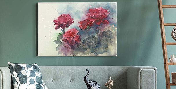 Pastell-Bild mit Rosen
