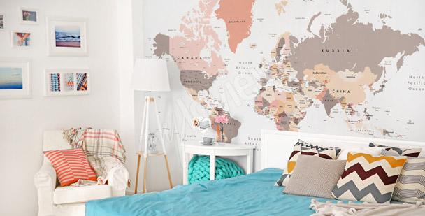 Pastell-Fototapete Weltkarte
