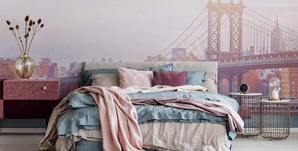 Pastellige Fototapete fürs Schlafzimmer