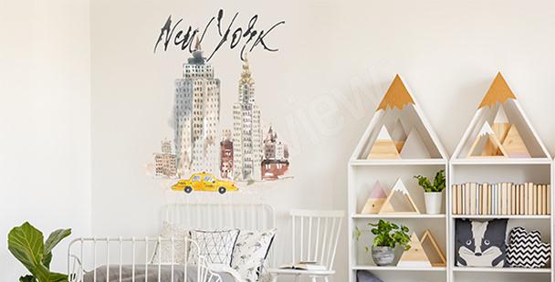 Pastellsticker New York City