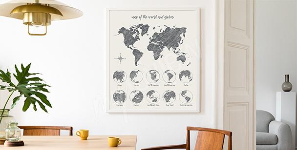 Plakat mit Weltkarte