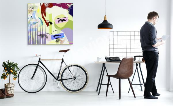 Pop-Art-Bild mit farbenfrohem Frauenporträt