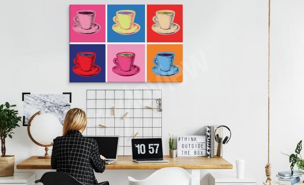 Pop-Art-Bild mit Tassen fürs Büro