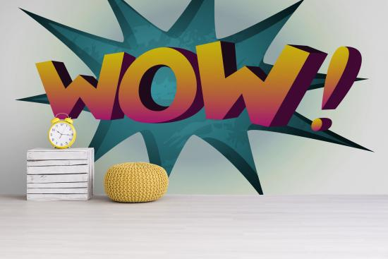 Pop Art Fototapete mit Aufschrift WOW!