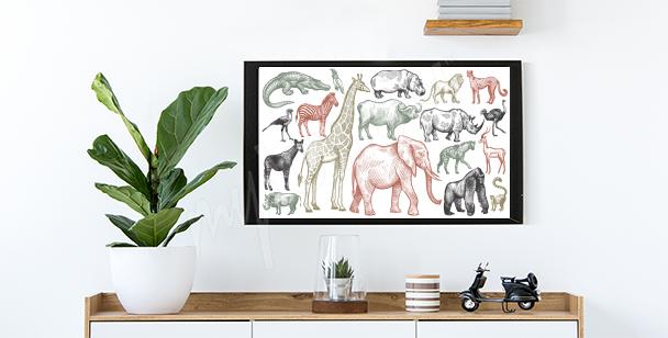 Poster Afrikanische Tiere