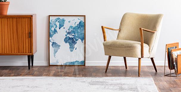 Poster Aquarell-Landkarte